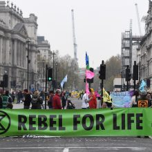 Londone per protestus dėl klimato kaitos suimta daugiau kaip 100 žmonių