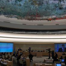 Ženevoje L. Linkevičius pristatė Lietuvos kandidatūrą į Žmogaus teisių tarybą