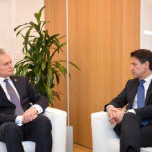 G. Nausėda su Italijos premjeru aptarė gynybos, saugumo klausimus