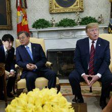 Baltuosiuose rūmuose susitinka D. Trumpas ir Moon Jae-inas