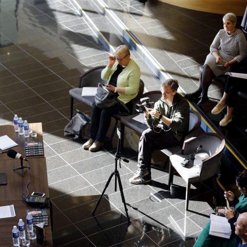 """Tarptautinio teatro festivalio """"TheATRIUM"""" spaudos konferencija  © Vytauto Petriko nuotr."""