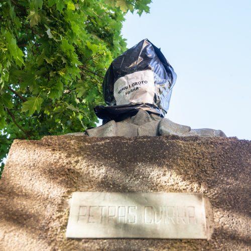 Prostestas prieš P. Cvirkos paminklą  © Justinos Lasauskaitės nuotr.