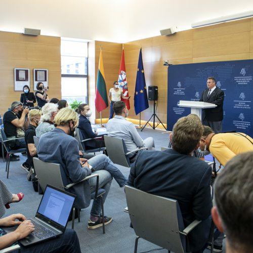 L. Linkevičiaus spaudos konferencija  © P. Peleckio / Fotobanko nuotr.