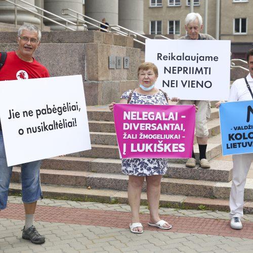 Protestas prie Seimo: reikalauja užkirsti kelią į Lietuvą migrantams