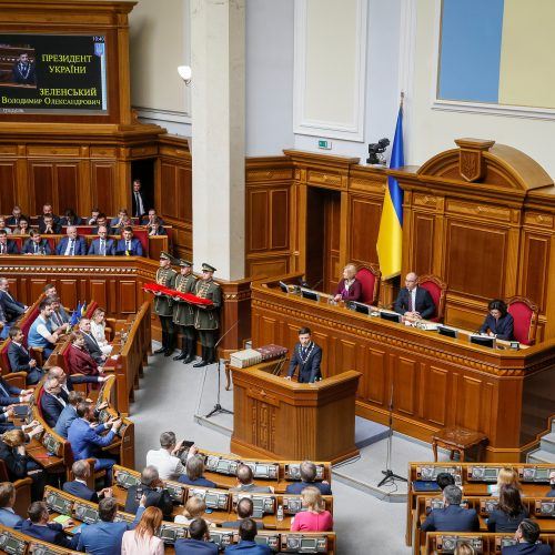 V. Zelenskis prisaikdintas Ukrainos prezidentu  © Scanpix nuotr.