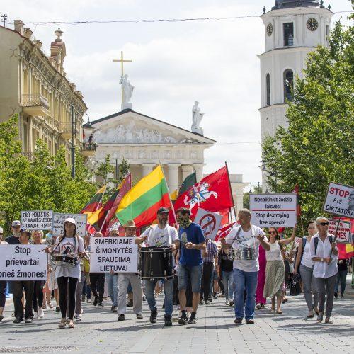 Protestas prieš privalomą testavimą ir skiepus  © Butauto Barausko nuotr.