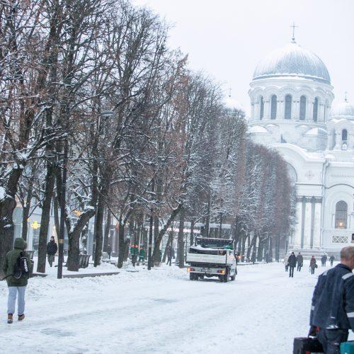 Snyguriuojantis pirmadienis Kaune  © Vilmanto Raupelio nuotr.