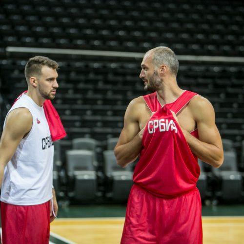 Lietuvos ir Serbijos rinktinių treniruotės  © Vilmanto Raupelio nuotr.