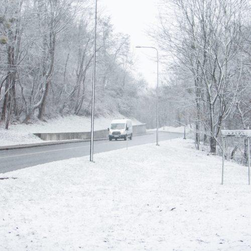 Sekmadienį Kauną nuklojo sniegas