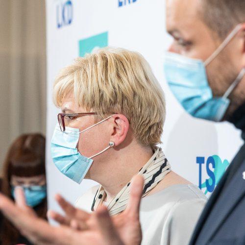 I. Šimonytės ir G. Landsbergio spaudos konferencija  © I. Gelūno / Fotobanko nuotr.