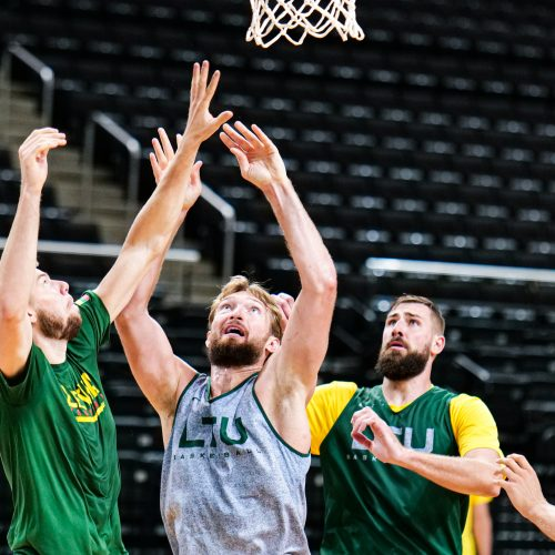 Lietuvos vyrų krepšinio rinktinės treniruotė  © Ž.Vingelio nuotr.