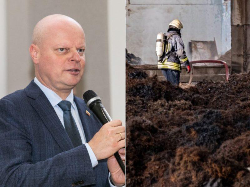S. Skvernelis piktinasi, kad atliekų išvežimas iš gaisravietės Alytuje stringa
