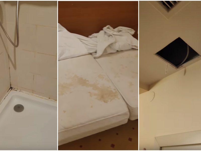 Moteris nufilmavo viešbučio kambarį: čia – baisu ir purvina