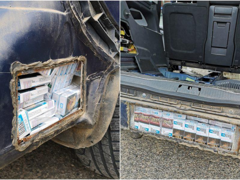 Šalčininkuose pareigūnai moters automobilyje aptiko kontrabandinių cigarečių slėptuvę