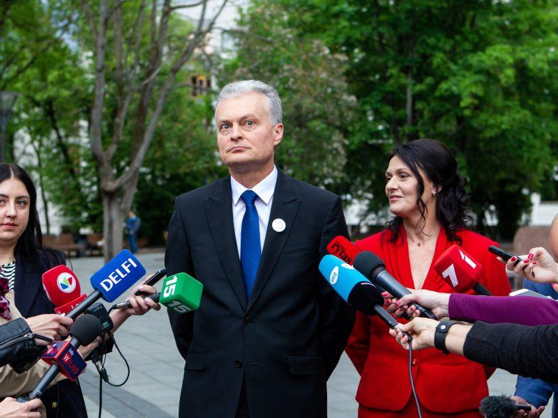 G. Nausėdos spaudos konferencija V. Kudirkos aikštėje