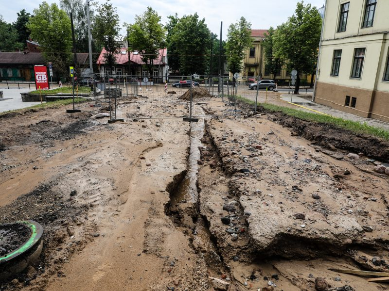 Kauno gatvės po lietaus