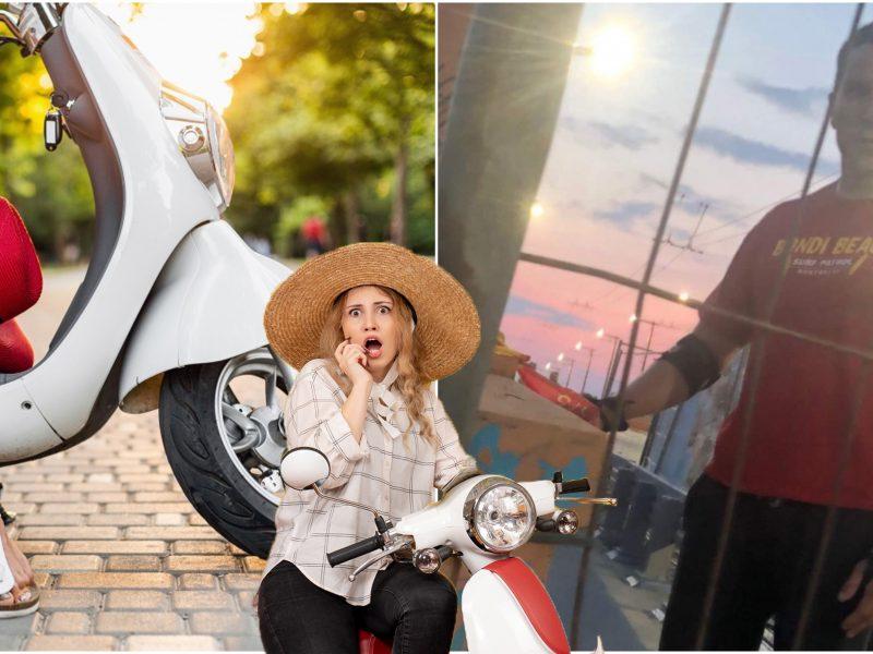 Dviračių taku motorolerį vairavusi mergina sulaukė nepažįstamojo akibrokšto