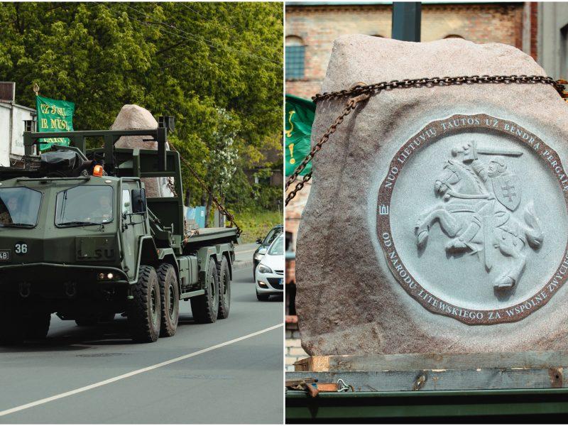 Įspūdinga: milžiniškas akmuo keliavo per Kauną į Griunvaldą