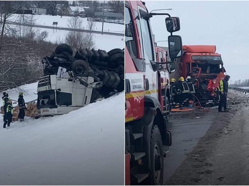 Marijampolėje – dviejų vilkikų avarija: A5 kelias uždarytas iš abiejų pusių