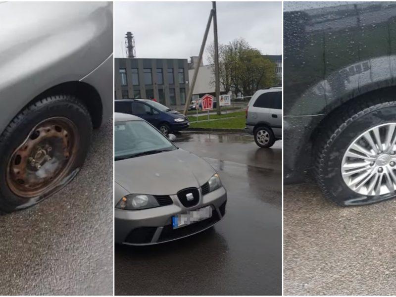 Prie policijos padalinio – spąstai vairuotojams: lieka pradurtomis padangomis