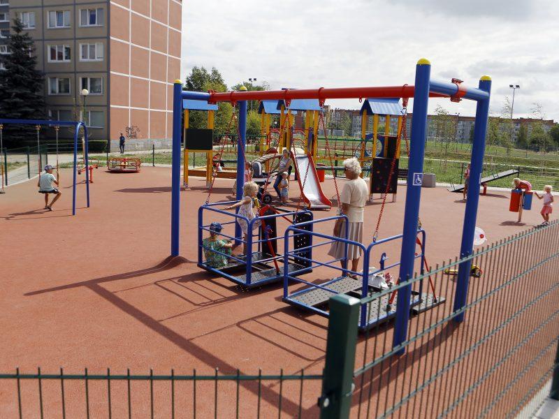 Suniokojo naujas parko sūpynes