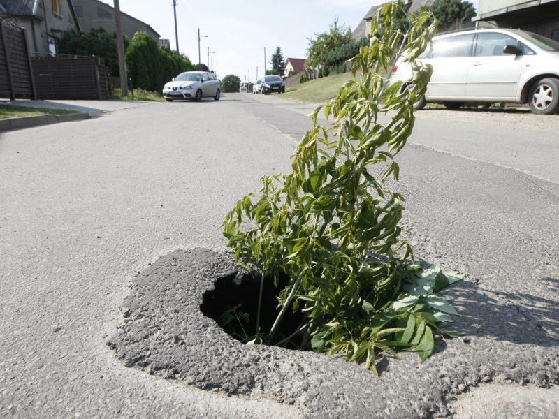 Vairuotojai turėtų pasisaugoti – gatvėje atsivėrė smegduobė