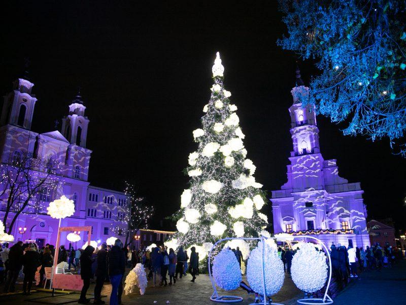 Šventinės Kauno Kalėdų eglės įžiebimo akimirkos